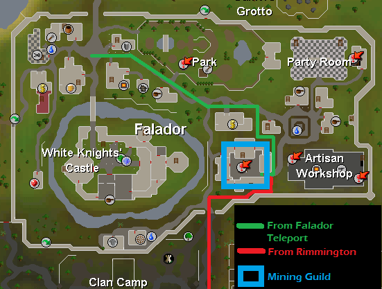 Mining Guild Resource Dungeon - Map of routes to the Mining Guild Resource Dungeon