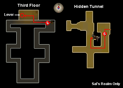 Maps of the third floor and the hidden tunnel