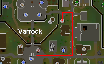 Route from the center of varrock to the sewer entrance