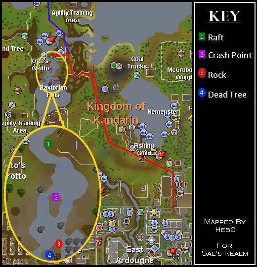 Map of routes to the Waterfall Dungeon