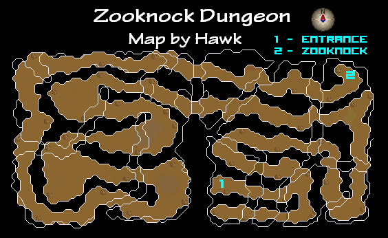 A map of Zooknook Dungeon.