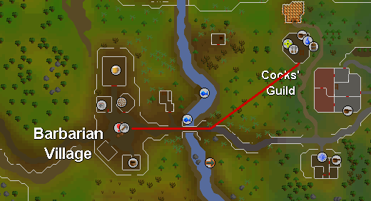 Route from barbarian village to the guild