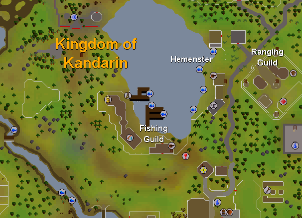 A map of the location of the fishing guild