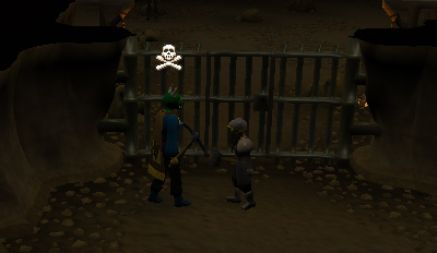 The gate between the Mining Guild and the rest of the dwarven mines