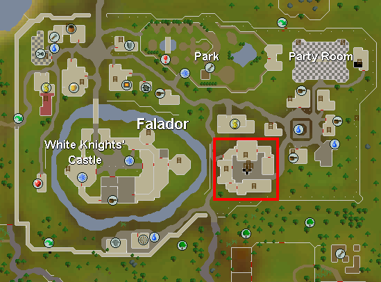 The location of the entrance to the mining guild in Falador