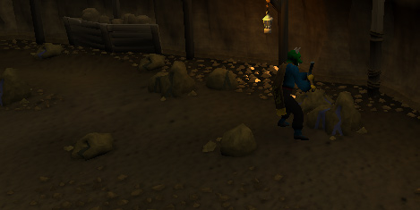 Mining a coal rock in the miners' guild