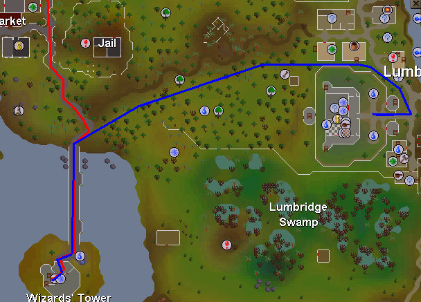 Routes to the wizard's tower
