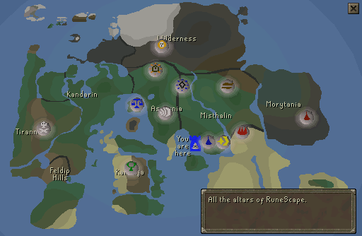 The locations of each runescrafting altar