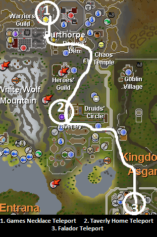 Map of routes to the Warriors' Guild