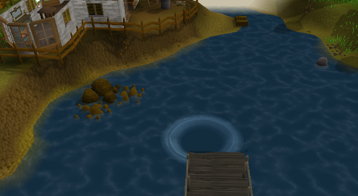 From the dock, you can see the Ancient Cavern, and Otto Godblessed's house.