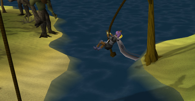 Rope swing between the jungle and Moss Giant island