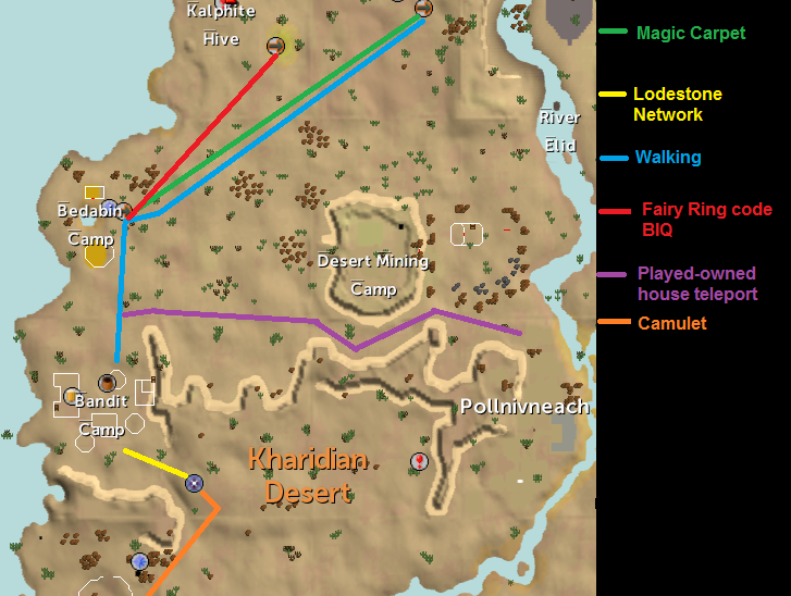 Map of routes to the Desert Bandit Camp