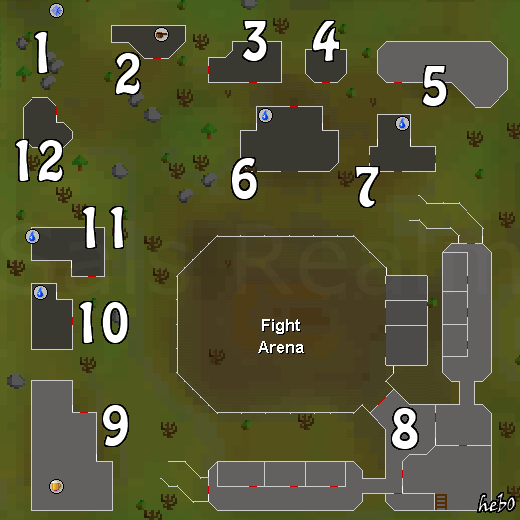 A map of the fight arena