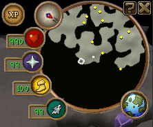 The portal is the small piece of 'land' a bit right of the middle of the minimap