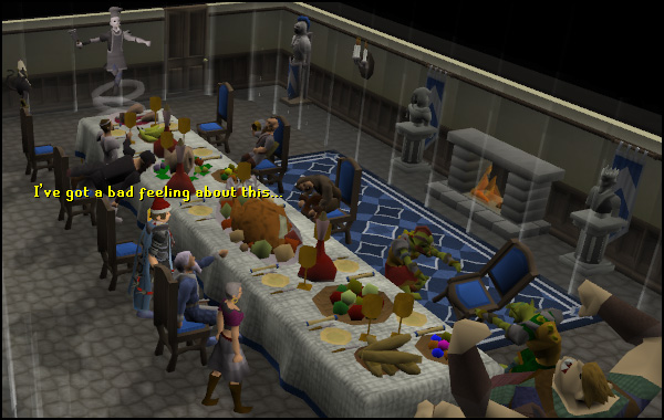 The Lumbridge Castle dining hall during the Recipe for Disaster quest feast