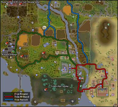 A map of routes to Lumbridge