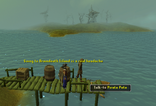 Take Pirate Pete's boat to Braindeath Island