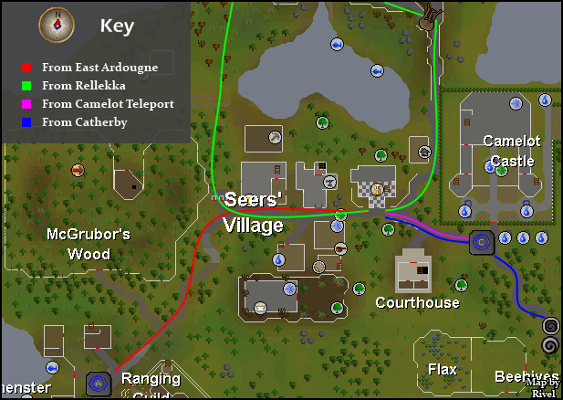 Seers' Village - Map of routes to Seers' Village