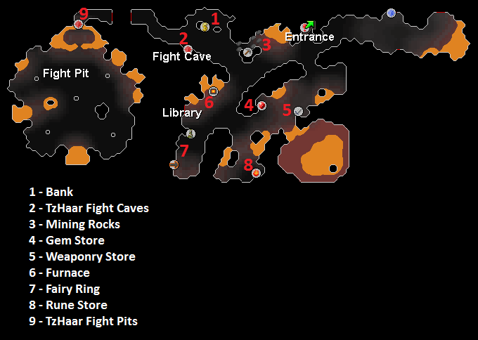 A map of tzhaar city