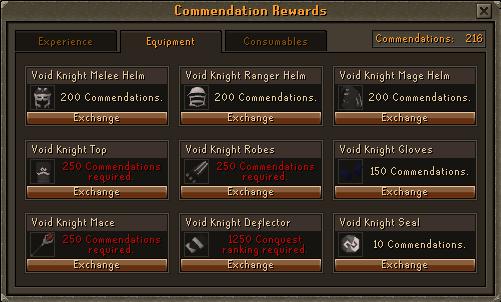 Void Knights' Outpost - Commendation Rewards: Equipment