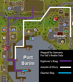Void Knights' Outpost - Map of routes  to the squire in Port Sarim