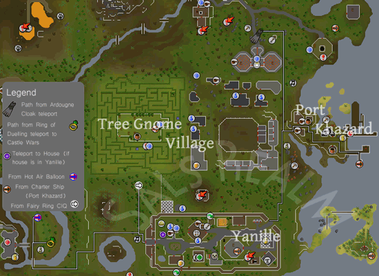 Map of routes to Yanille