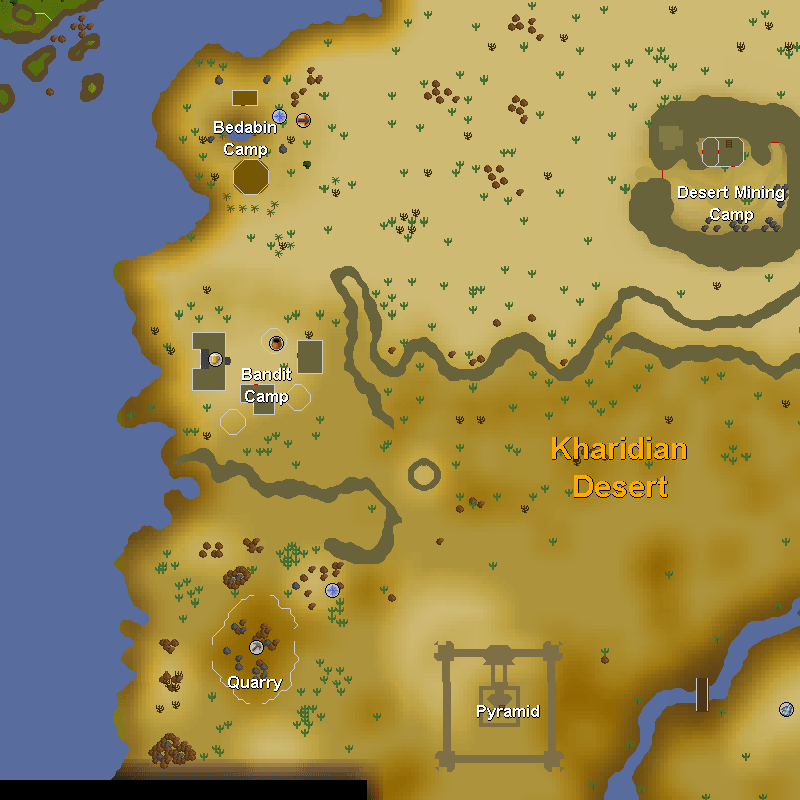 Bedabin Camp, Desert Mining Camp, Bandit Camp, Quary and the Desert Treasure Pyramid