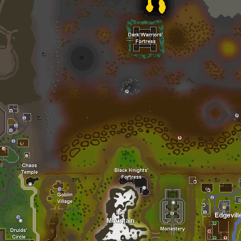 Dark Knight Fortress, Chaos Temple, Goblin Village, Black Knights' Fortress, Monastery and Edgeville