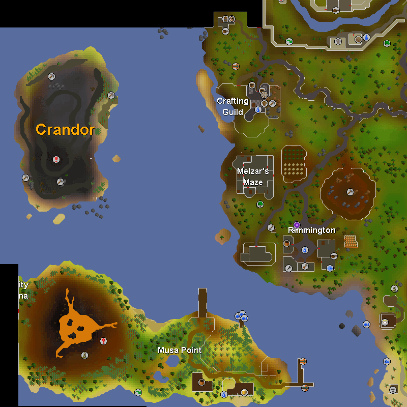 Crandor Isle, Musa Point, Rimmington, Crafting Guild, Melzar's Maze