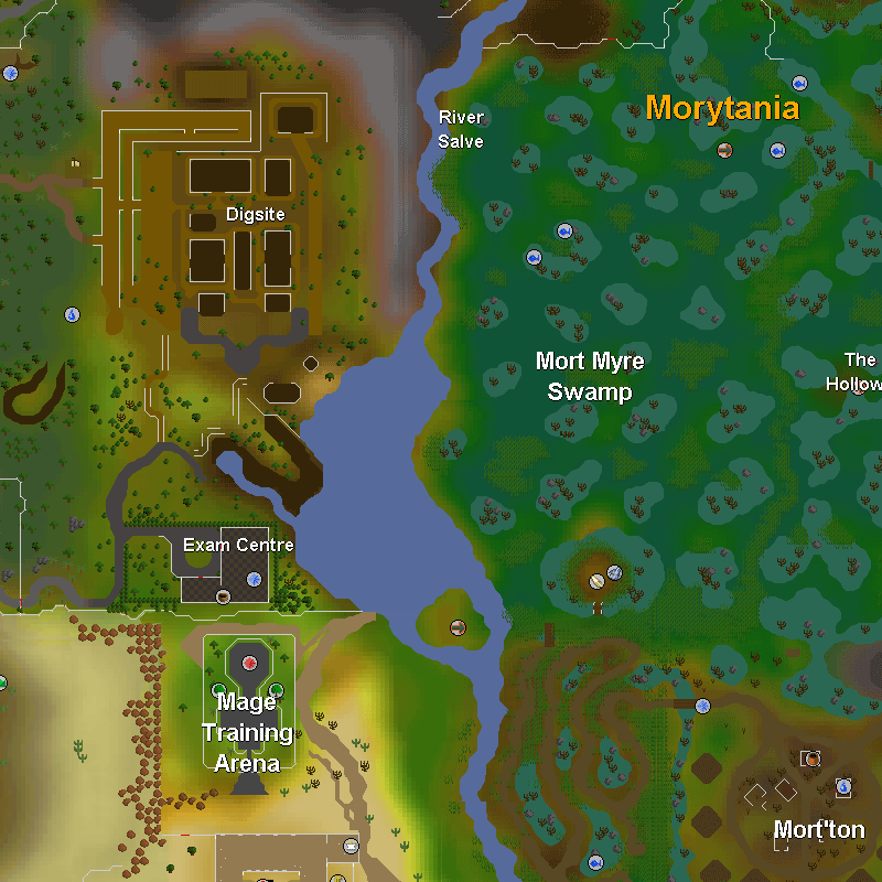 Dig Site, River Salve, Mort Myre Swamp, The Hollows, Exam Centre, Mage Training Arena and Mort'ton