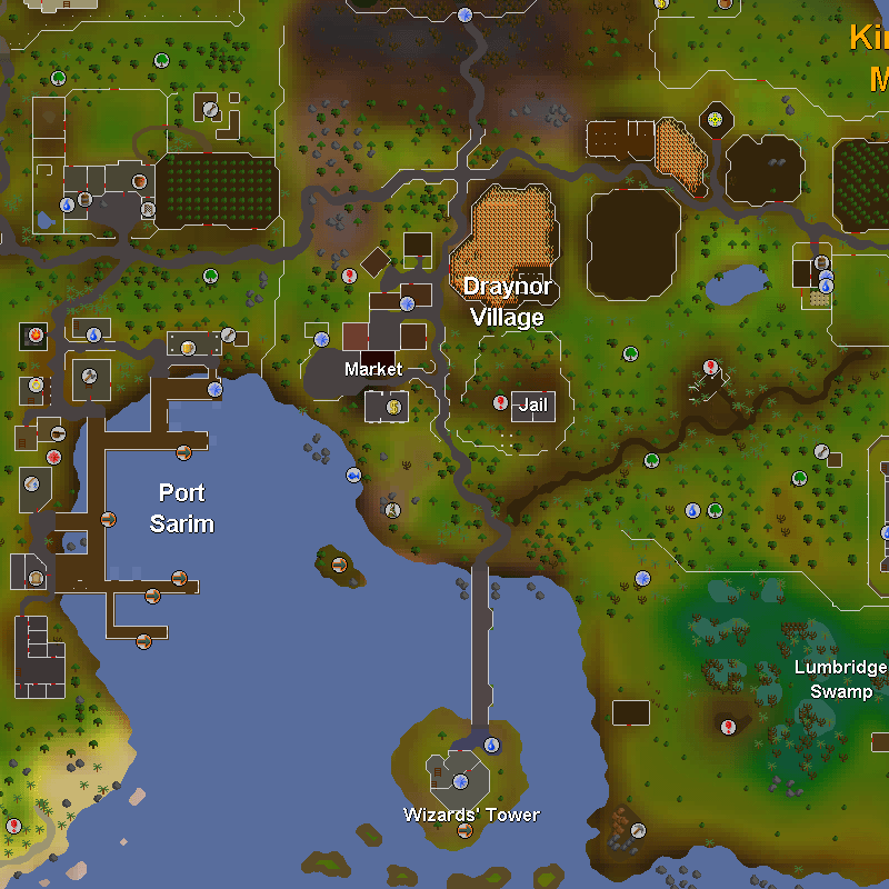 Draynor Village, Port Sarim, Wizards' Tower, Lumbridge Swamp