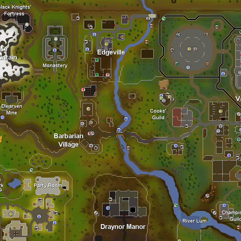 Edgeville, Dwarven Mines, Monastery, Barbarian Village, Cooks' Guild, Draynor Manor, Party Room, Champions' Guild, Black Knights' Fortress