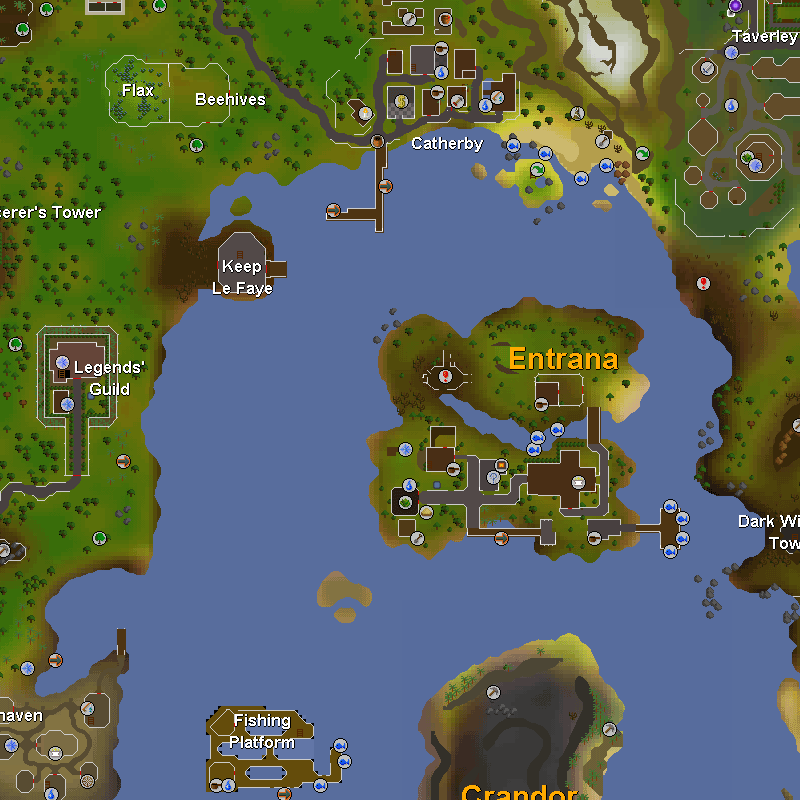 Catherby, Taverley, Keep Le Faye, Legends' Guild, Entrana, Witchaven, Fishing Platform and Crandor Isle