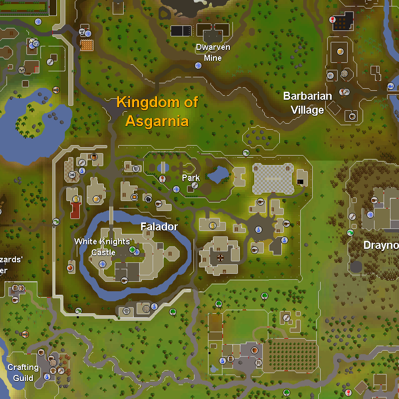 Dwarven Mine, Barbarian Village, Falador, Draynor Manor and the Crafting Guild