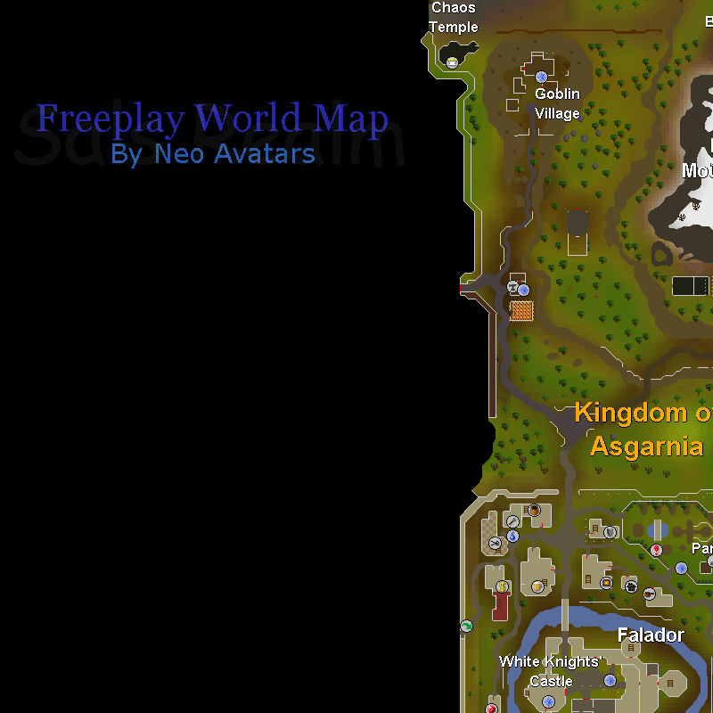 Goblin Village, Chaos Temple, Falador, Dark Wizards' Tower