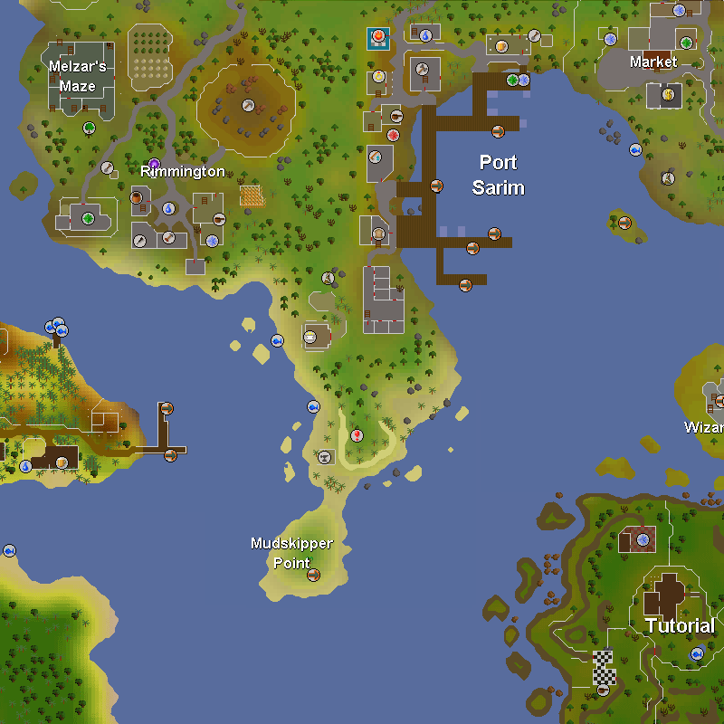 Melzar's Maze, Rimmington, Port Sarim, Draynor Village Market, Musa Point, Wizards' Tower, Mudskipper Point and Tutorial Island