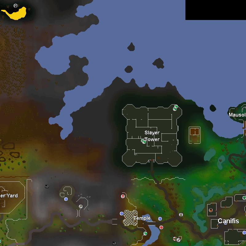 Black Salamanders, Slayer Tower, Mausoleum, Lumber Yard, Temple and Canifis
