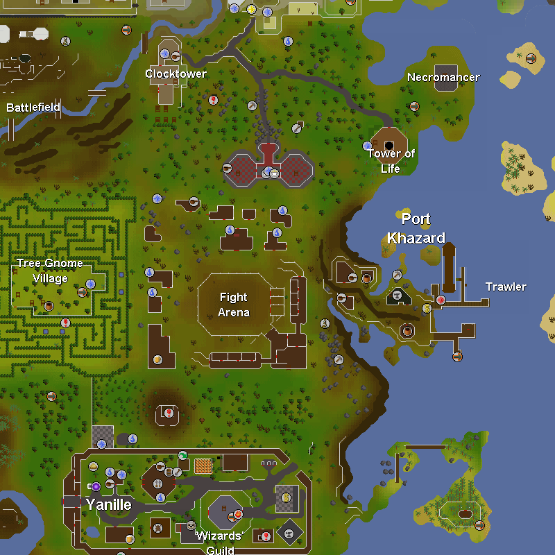 Tree Gnome Village, Fight Arena, Port Khazard and Yanille