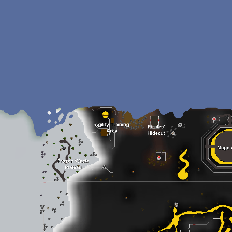 Wilderness Agility Arena, Pirates' Hideout, Mage Arena, Frozen Waste Plateau and Rune Rocks