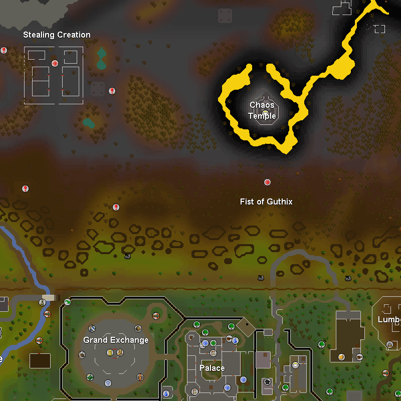 Wilderness Chaos Temple, Lumber Yard and Varrock Palace