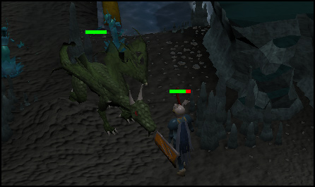Fighting a green dragon