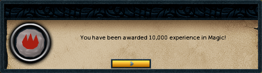You have been awared 10,000 experience in magic!