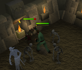Fighting the goblins to get their bones