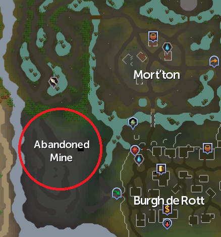 The location of the Abandoned Mine