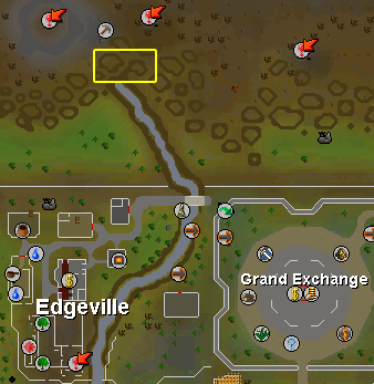 Location of the Zamorak Mage, at the end of the River Lum