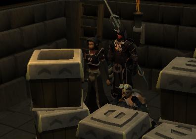 The trio hiding behind boxes