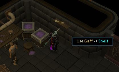 Use the gaff to retrieve the key