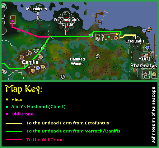 A map of the morytania quest area