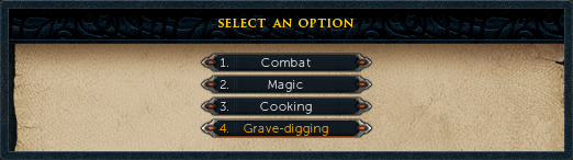 Select option 4: Grave-digging.