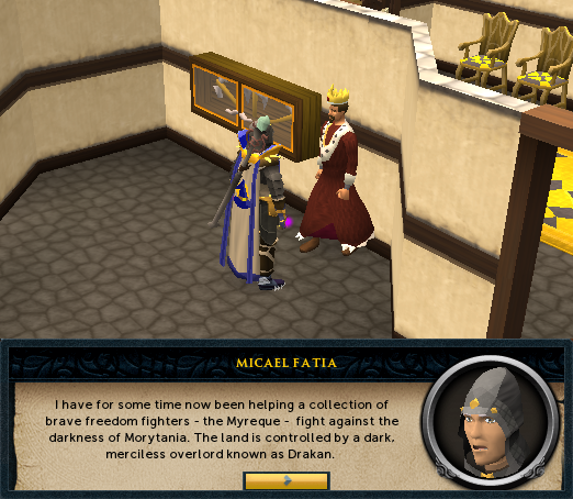 Darkness of Hallowvale - <You>: I have for some time now been helping a collection of brave freedom fighters - the Myreque - fight against the darkness of Morytania.